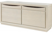 Buffet 2 portes chêne massif blanc pierre 2 tiroirs