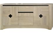 Buffet 3 portes chêne massif blanchi décors ardoise 1 tiroir