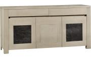 Buffet 3 portes chêne massif taupe décors ardoise 2 tiroirs