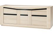 Buffet chêne blanchi 3 portes décors verre noir