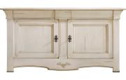 Buffet chêne massif 2 portes 3 tiroirs teinté blanc
