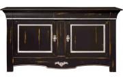 Buffet chêne massif 2 portes 3 tiroirs teinté noir