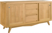 Buffet scandinave chêne massif clair 2 portes coulissantes 3 tiroirs