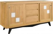 Buffet scandinave chêne massif clair 2 portes coulissantes 3 tiroirs décor verre blanc pieds noir