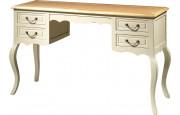 Bureau hêtre laque blanc 4 tiroirs pieds galbés
