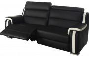 Canapé 2,5 places 2 relax électriques cuir noir et blanc