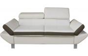Canapé 2 places simili cuir blanc et taupe têtières réglables
