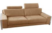 Canapé 3 places microfibre sable avec 2 tétières