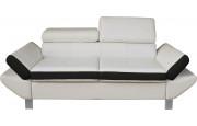 Canapé 3 places simili cuir blanc et noir têtières réglables
