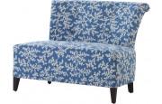 Canapé bas tapissé tissu bleu motif végétal