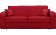 Canapé rapido 2,5 places convertible CHRIS tissu rouge