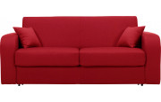 Canapé rapido 4 places convertible CHRIS tissu rouge
