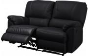 Canapé relax manuel cuir noir 2 places – NEPAL