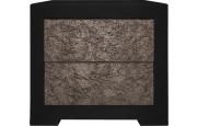Chevet chêne noir 2 tiroirs étoffés velours chocolat