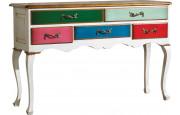 Console châtaignier laque blanc 5 tiroirs multicolores pieds galbés