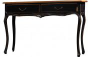 Console châtaignier laque noir moulure décorative 2 tiroirs pieds galbés