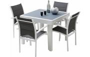 Ensemble Modulo 4 table carrée L90 et 4 fauteuils aluminium blanc