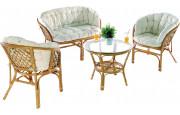 Ensemble salon TAHITI 4 places fauteuils canapé table basse rotin miel