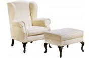 Fauteuil bergère hêtre massif teinté merisier doré tissu blanc pieds galbés