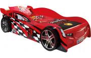 Lit enfant voiture de course rouge et noir 90x200