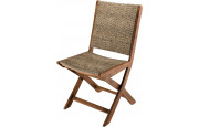 Lot de 2 chaises pliantes rotin synthétique pieds acacia