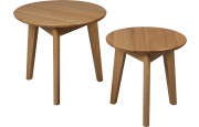 Lot de 2 tables basses rondes chêne