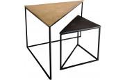 Lot de 2 tables gigognes triangle aluminium doré et noir pieds métal – JOHN