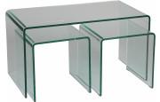 Lot de 3 tables basse verre trempé courbé