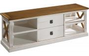Meuble TV blanc 2 tiroirs 4 niches décors croisillons