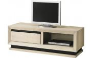 Meuble TV chêne blanchi 1 niche 1 tiroir décors verre anthracite