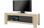 Meuble TV chêne blanchi 1 porte coulissante décor verre anthracite 1 étagère verre