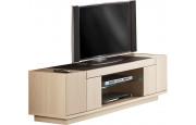 Meuble TV chêne blanchi 2 portes 1 niche 1 étagère verre décor verre anthracite
