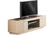 Meuble TV chêne blanchi 2 portes 1 niche 1 étagère verre décor verre taupe