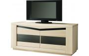 Meuble TV chêne blanchi 2 portes vitrées 2 étagères verre décor verre noir