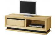 Meuble TV chêne clair 1 niche 1 tiroir décors verre anthracite