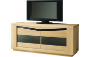 Meuble TV chêne clair 2 portes vitrées 2 étagères verre décor verre noir