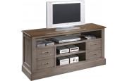 Meuble TV chêne gris 4 tiroirs 3 niches
