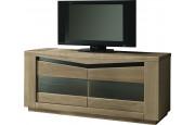 Meuble TV chêne taupe 2 portes vitrées 2 étagères verre décor verre noir