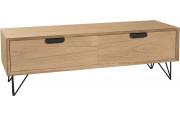 Meuble TV paulownia 1 porte battant 1 tiroir pieds métal