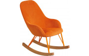 Rocking-chair enfant design acier tapissé tissu orange