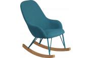 Rocking-chair enfant design acier tapissé tissu turquoise