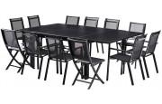 Salon de jardin Black Star 12 L150 Full verre 8 Fauteuil 4 chaises noir