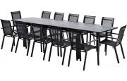 Salon de jardin HPL Star 12 L210 12 fauteuils noir