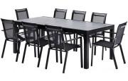Salon de jardin HPL Star L210 8 fauteuils noir