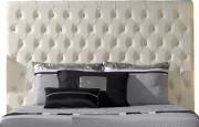 Tête de lit capitonnée simili cuir blanc pour lit 180