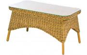 Table basse NEVADA rectangulaire rotin miel plateau verre sécurit