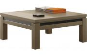 Table basse carrée chêne taupe décor verre noir