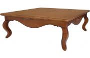 Table basse carrée merisier massif 1 tiroir pieds galbés
