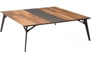 Table basse carrée teck recyclé pieds métal – MAXUS