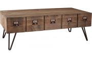 Table basse pin 1 tiroir pieds métal